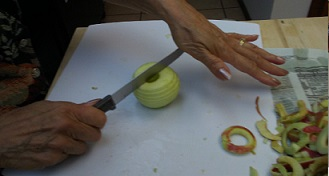 Slicing Peeled Apple