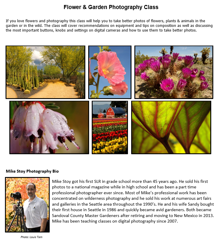 Flower and Garden Photography Class with Mike Stoy - Gardening with the Masters @ Meadowlark Senior Center | Rio Rancho | New Mexico | United States