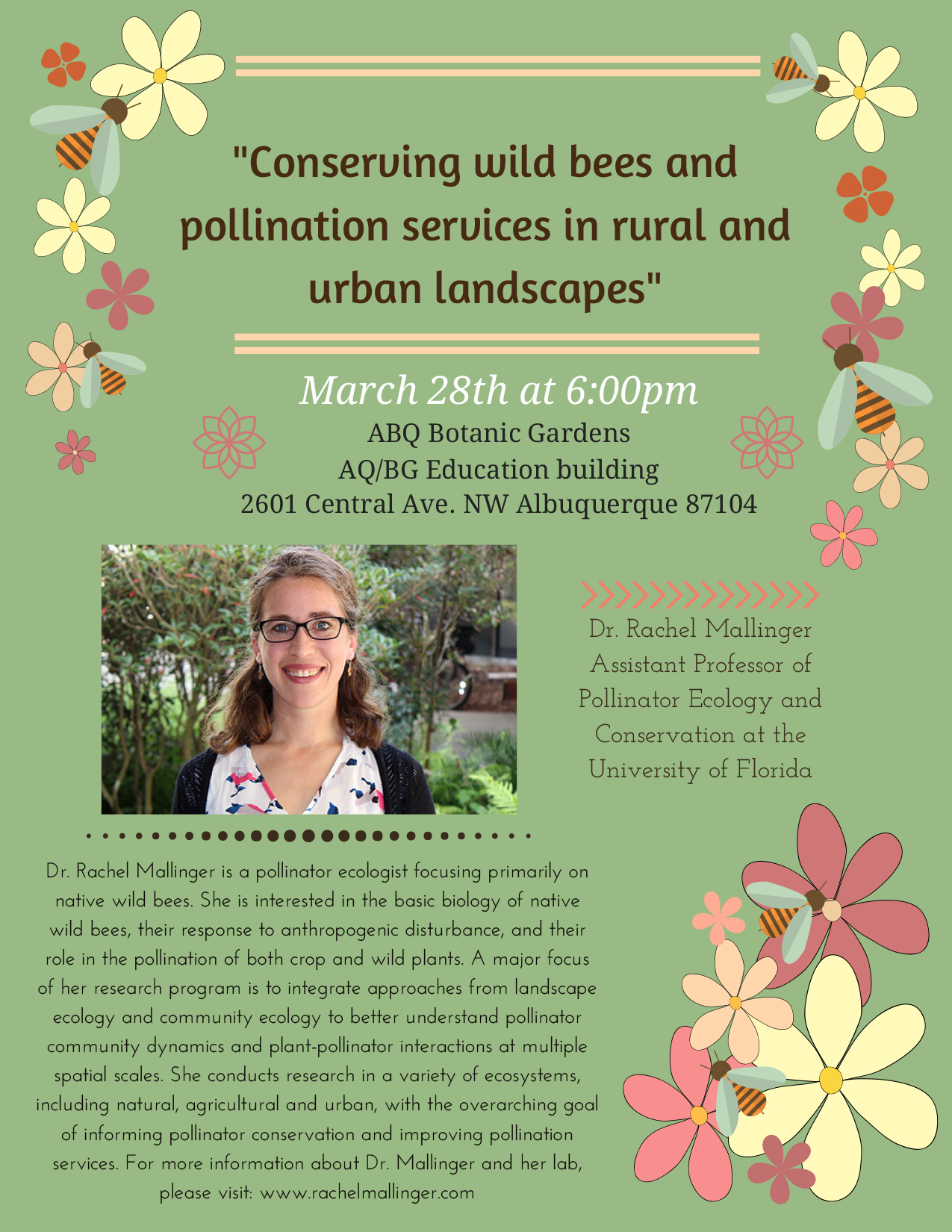 Conserving wild bees and pollination services in rural and urban landscapes @ ABQ Botanic Gardens - AQ/BG Education building | Albuquerque | New Mexico | United States