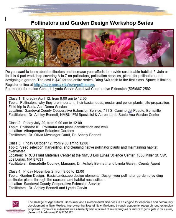 Pollinators and Garden Design Workshop Series @ Various locations - see class list.